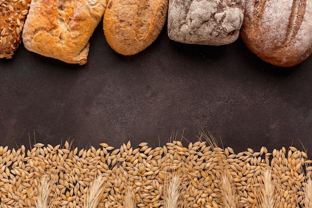 Quadro de sementes e pão de trigo