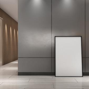 Quadro de simulação na parede cinza na área do corredor, estilo moderno, pôster de maquete, renderização em 3d, ilustração em 3d
