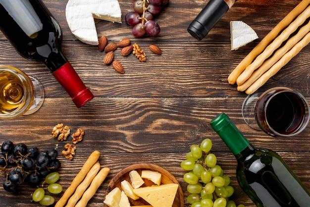 Quadro de sortimentos de vinho e queijo