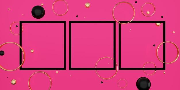 Quadro de texto preto em um fundo rosa decorado com contas e anéis ilustração 3d