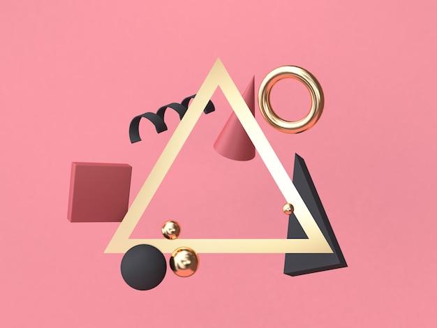 Quadro de triângulo vermelho-rosa fundo mínimo abstrato forma geométrica flutuante renderização em 3d