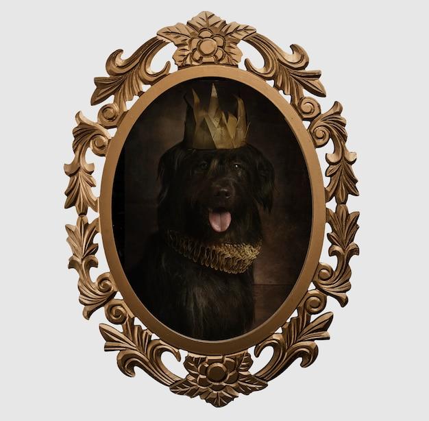 Quadro de um cachorro no estilo renascentista