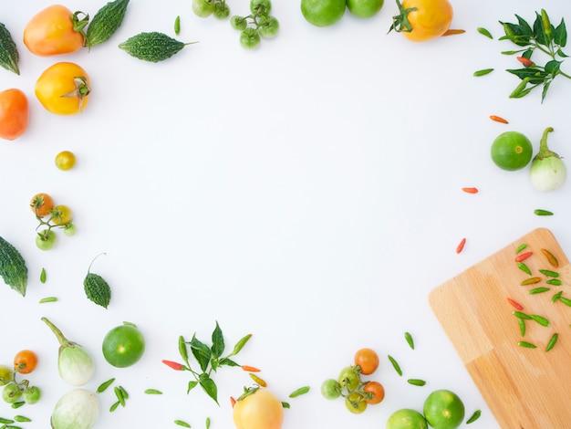 Quadro de vegetais asiáticos de variedade.