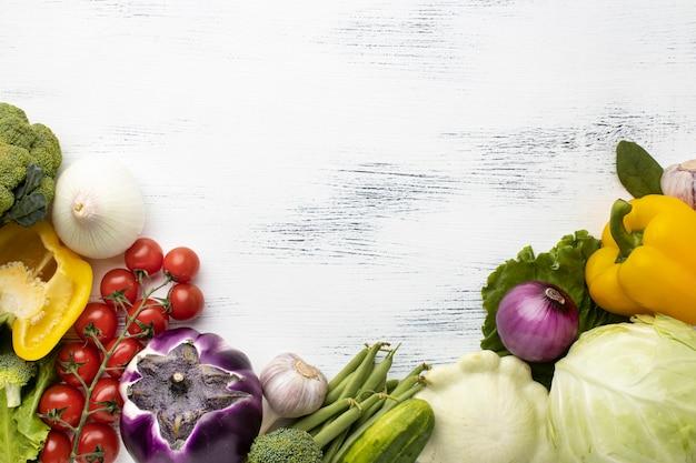 Quadro de verduras deliciosas acima
