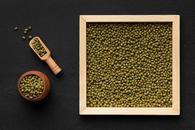 Quadro de vista superior com sementes