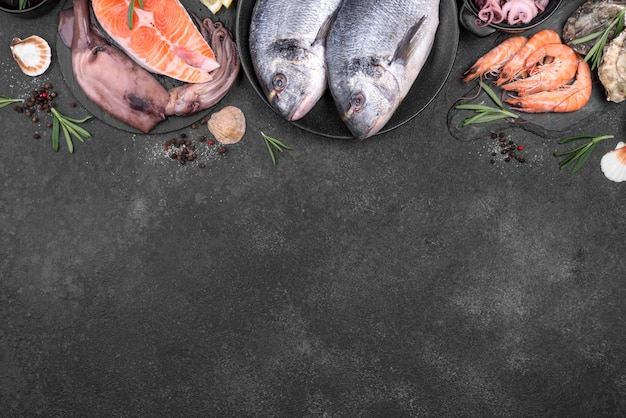 Quadro de vista superior de deliciosos tipos de peixes copie o espaço