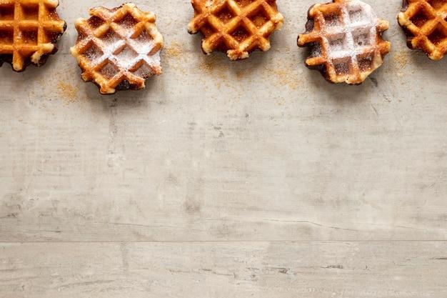 Quadro de waffles gostoso com espaço de cópia