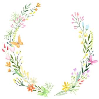 Quadro decorativo floral. borda pintada à mão em aquarela