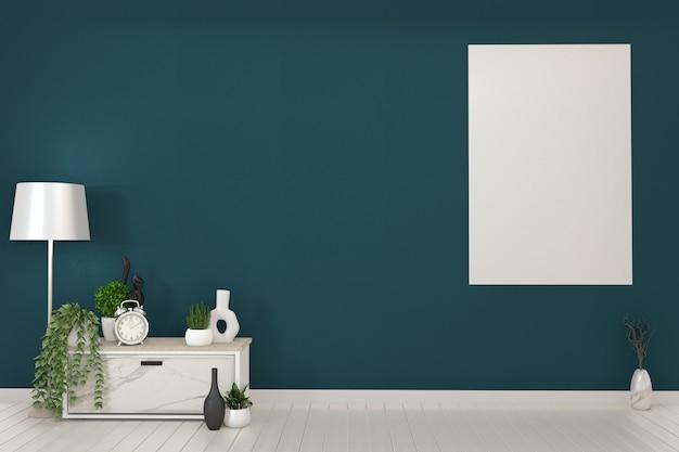 Quadro e branco armários tv em uma sala verde escuro e decoration.3d rendering