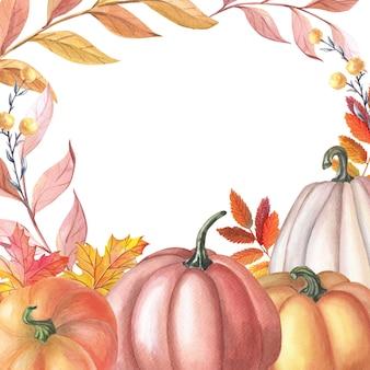 Quadro em aquarela com abóbora, folhas em fundo branco. cartão de outono.