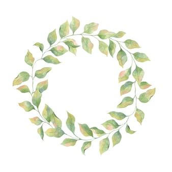Quadro em aquarela com folhas verdes em um fundo branco, elemento único, primavera