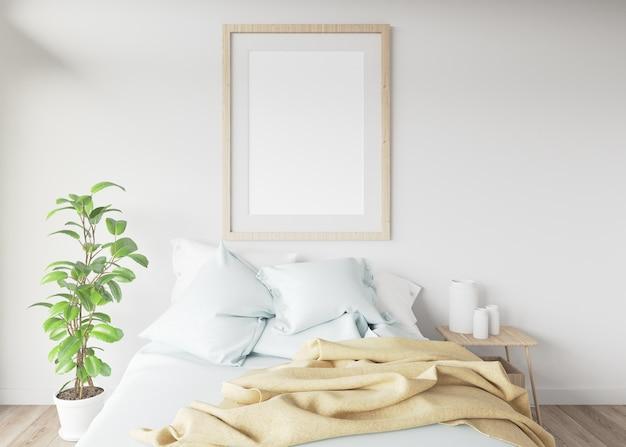 Quadro em branco em um quarto com uma cama.