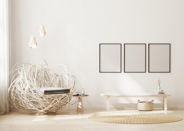 Quadro em branco em uma sala de estar moderna com fundo bege claro e poltrona elegante