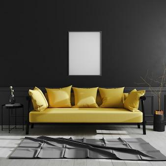 Quadro em branco na parede preta, quadro de pôster vertical simulado acima no escuro interior moderno com sofá amarelo, estilo escandinavo, interior de casa de luxo, renderização em 3d