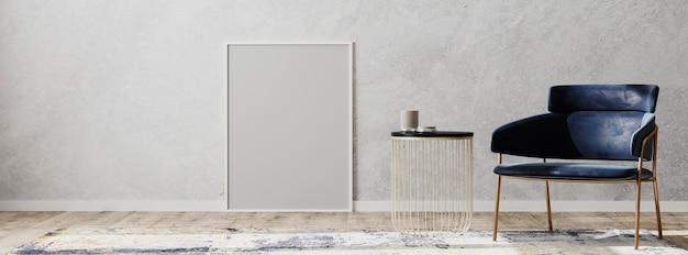 Quadro em branco no interior contemporâneo com cadeira azul, mesa de centro e tapete de design em parquet de madeira e parede cinza, panorama, renderização em 3d