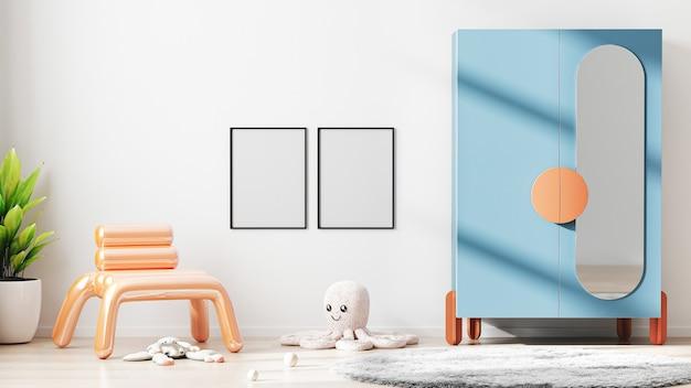 Quadro em branco simulado no fundo interior do quarto infantil moderno com parede branca, renderização em 3d