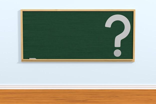 Quadro escolar e pergunta em sala de aula. ilustração 3d