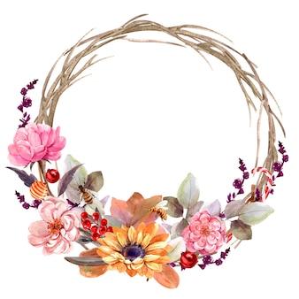 Quadro floral de grinalda em aquarela