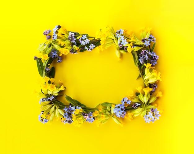 Quadro floral de plantas de primavera.