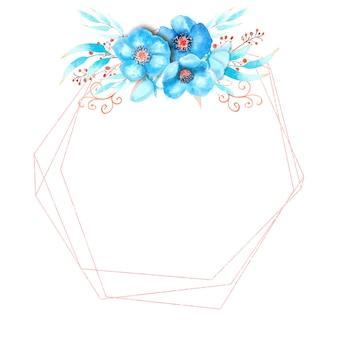 Quadro geométrico com flores de heléboro azul, brotos, folhas, galhos decorativos em um fundo branco e isolado. bouquet no topo. ilustração em aquarela.