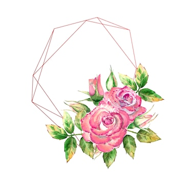Quadro geométrico decorado com flores