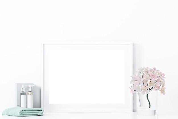 Quadro horizontal de maquete e decoração de banheiro