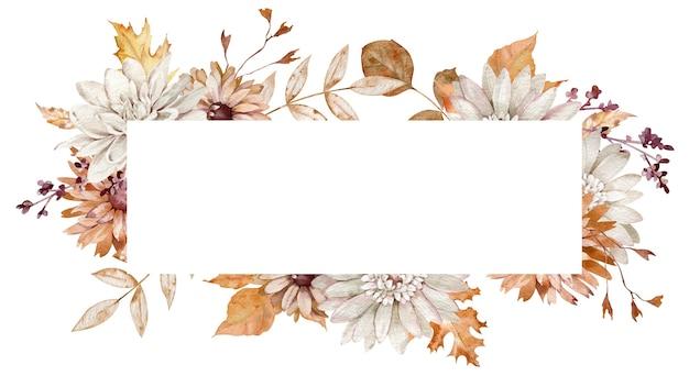 Quadro horizontal em aquarela com flores e folhas de outono. outono laranja e branco. molde floral.
