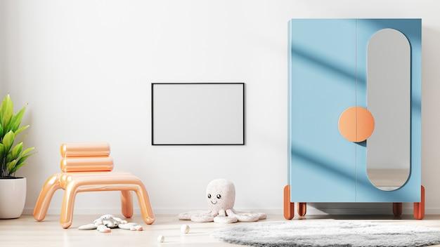 Quadro horizontal em branco simulado no fundo interior do quarto infantil moderno com parede branca, renderização em 3d