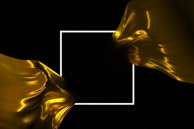 Quadro luminoso e tecido fluindo em uma ilustração 3d de fundo escuro