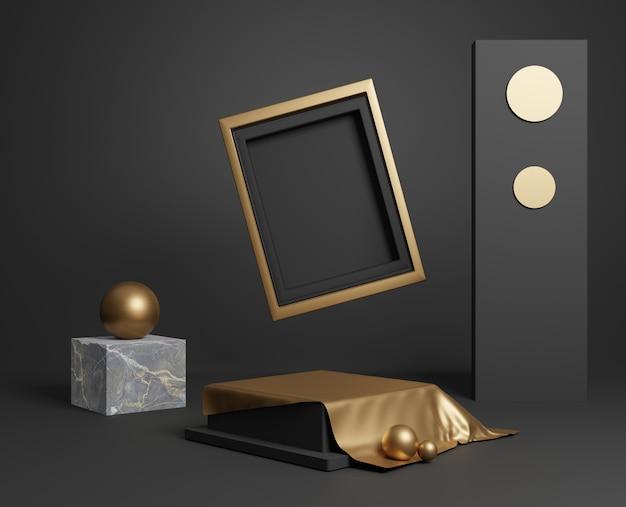 Quadro mínimo de ouro 3d