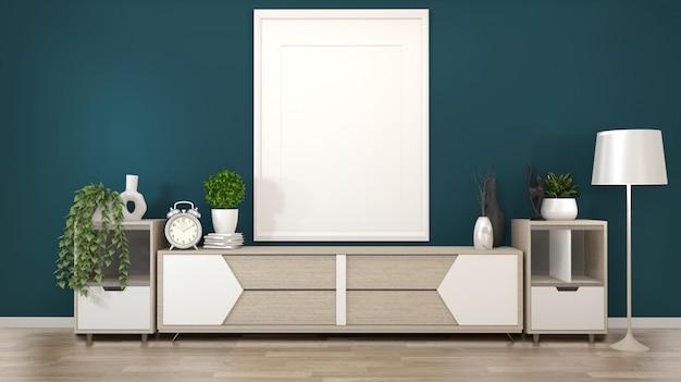 Quadro na tv de armários de madeira em uma sala verde escura e renderização decoration.3d