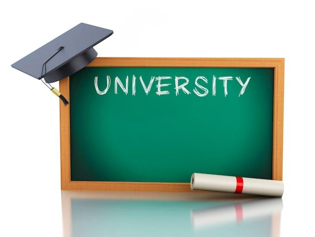 Quadro-negro 3d com certificado de diploma e chapéu de formatura.