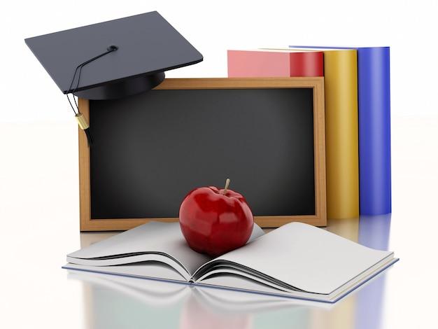 Quadro-negro 3d com diploma, chapéu de formatura e livros.