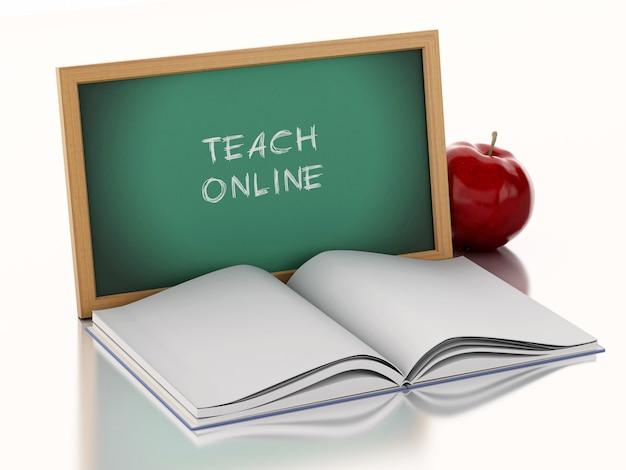 Quadro-negro 3d com o livro aberto e uma maçã vermelha.
