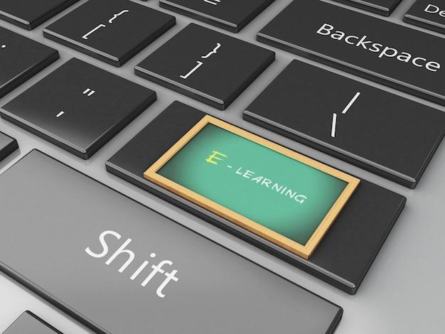 Quadro-negro 3d no teclado do computador.