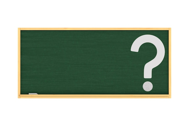 Quadro-negro escolar e pergunta sobre fundo branco. ilustração 3d isolada