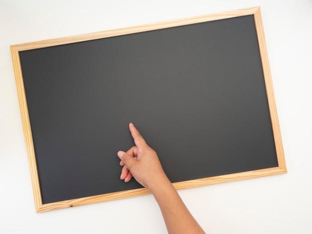 Quadro-negro, moldura de madeira, espaço vazio para design