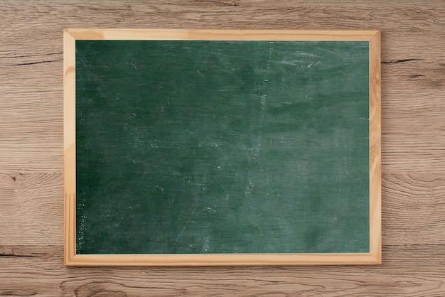 Quadro-negro no assoalho de madeira, espaço vazio para a entrada de texto.