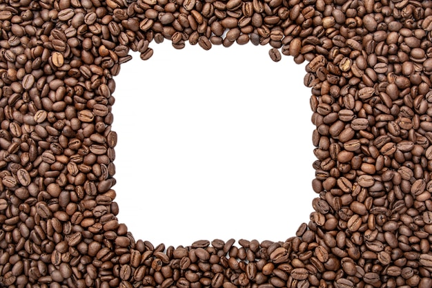 Quadro quadrado de feijões de café - copie o espaço para o texto. fundo de grãos de café torrado.