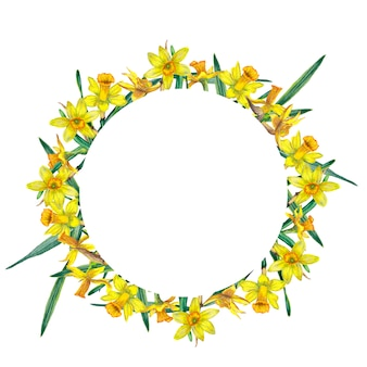 Quadro redondo de narcisos amarelos realistas e folhas verdes.