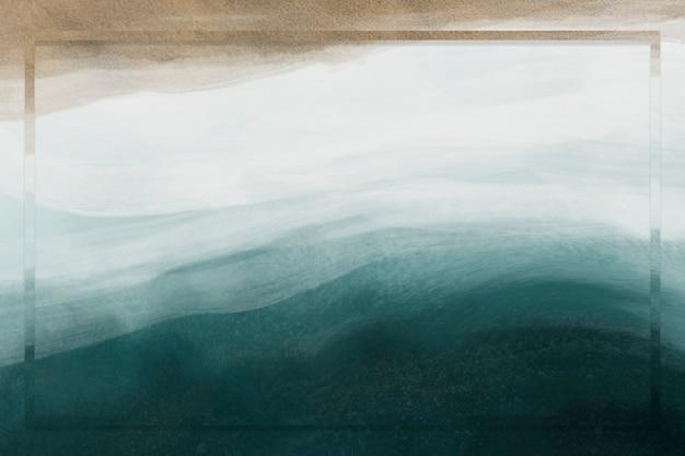 Quadro retangular na areia e fundo do mar