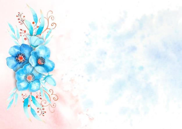 Quadro romântico com flores de heléboro azul, brotos, folhas, galhos decorativos em um fundo aquarela. ilustração em aquarela, feita à mão.