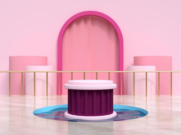 Quadro rosa cortina cena geométrica água lagoa pódio conjunto renderização em 3d