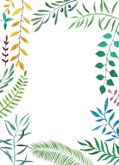 Quadro tropical botânico em aquarela