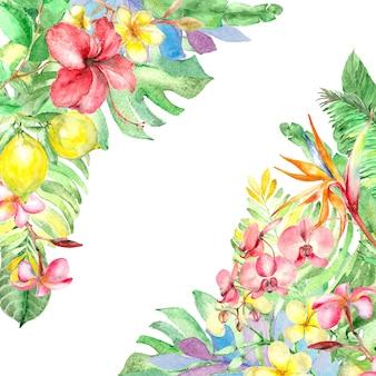 Quadro tropical em aquarela