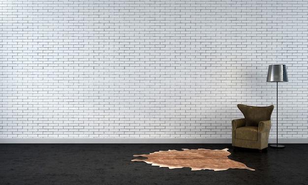 Quadro vazio moderno simulado design de interior e sala de estar e decoração de fundo de parede de tijolo branco e sofá com luminária de chão renderização em 3d