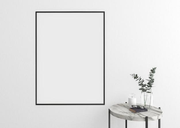 Quadro vertical vazio na parede branca e moldura