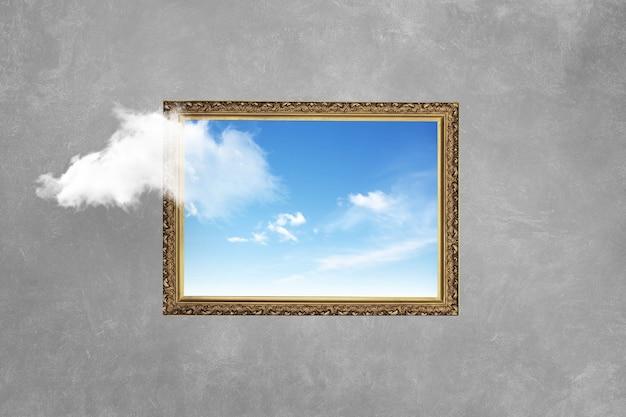 Quadro vintage com céu azul na parede de concreto. pense fora da caixa, conceito mínimo surreal. ideia criativa