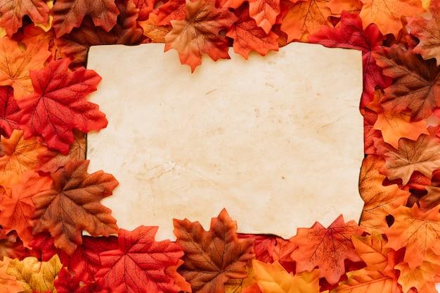 Quadro vintage em folhas de outono