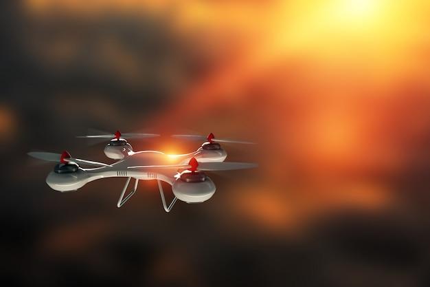 Quadrocopter branco contra o céu com espaço de cópia